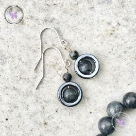Larvikite & Hematite Circle Earrings